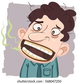 cartoon man with bad breath.