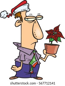 cartoon man with a bad christmas gift/bonus