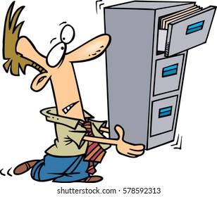 cartoon man balancing files