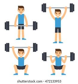Cartoon man barbell exercises: squat, deadlift, overhead press. Weight lifting illustration. Modern flat vector style.