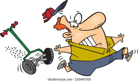 Cartoon man being chased by a push lawn mower