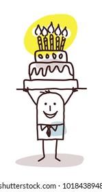 Cartoon Man with Birthday Cake