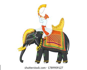 Cartoon Man Blowing Tutari Horn Sit On Decorative Elephant For Indian Celebration.