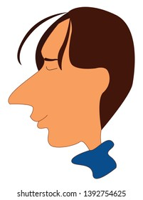 Cartoon man in a blue dress has a long  unpointed nose and few strands of hair floating in front of his forehead with his eyes closed looks happy  vector  color drawing or illustration