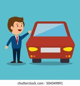 cartoon man car earnings design isolated