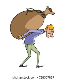 Cartoon man carrying a heavy bag on his back