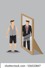Cartoon man in casual wear stands in front of mirror and sees himself as a rich man in suit in reflection. Creative vector cartoon vector illustration on self-perception concept.