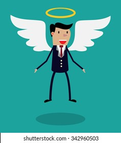Cartoon man character in business suit with wings and halo flying in the air. Metaphor for business angel or angel investor.