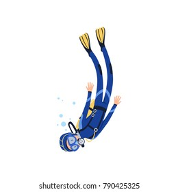 Cartoon man character engaged in scuba diving in sea. Diver in blue wetsuit, mask, flippers and equipment for breathing on back. Extreme water sport. Flat vector design