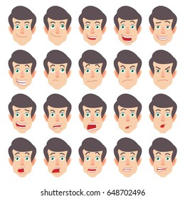 Cartoon Man Character in red t-shirt. Different facial expressions. Emotional set for rigging and animation. Vector illustration in a flat style.