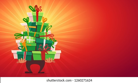 cartoon man character Santa Claus bring and hold big stack of happy new year and Christmass gifts boxes green color with ribbon bow at red background