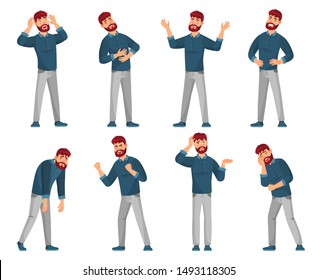 Cartoon man character. Thinking male, smiling happy men and sad man in casual clothes. Student or businessman character or handsome geek guy. Isolated vector illustration icons set