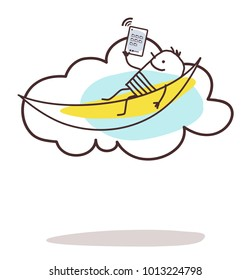 Cartoon Man Connected and Relaxing on the Cloud