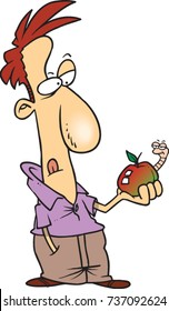 cartoon man in contemplation while looking at an apple with a worm in it