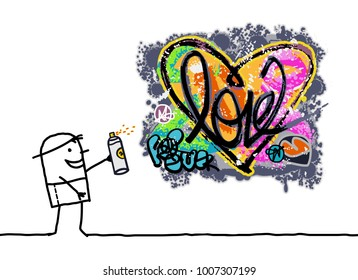 Cartoon Man Designing a Graffiti Heart