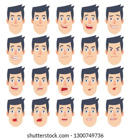 Cartoon Man. Different facial expressions. Emotional set for rigging and animation. Vector illustration in a flat style.