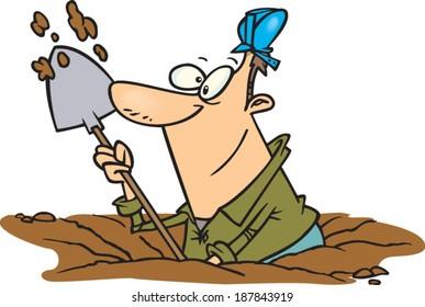 cartoon man digging a hole