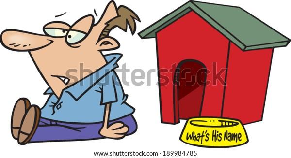 Cartoon Man Doghouse Stock Vector (Royalty Free) 189984785