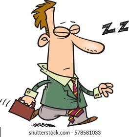 cartoon man dozing on way to work