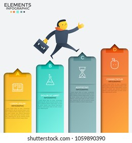 Cartoon man dressed in business suit climbing up stairs or ascending columns of bar chart. Concept of growth and progressive development. Creative infographic design template. Vector illustration.