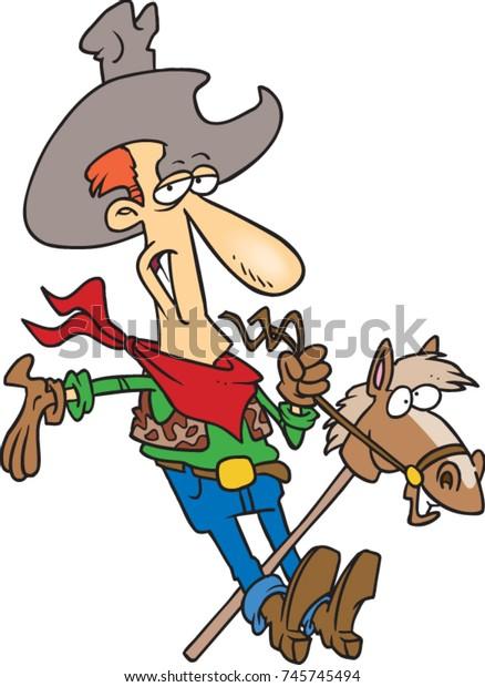 Cartoon Man Dressed Cowboy Riding Stick Stock Vector Royalty Free 745745494