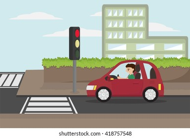 cartoon man driving eco car stopped at crossroads in the city with red traffic light. vector