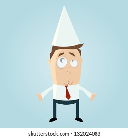 Cartoon man with dunce cap
