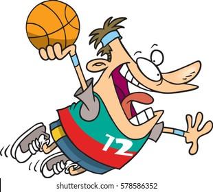 cartoon man dunking a basketball