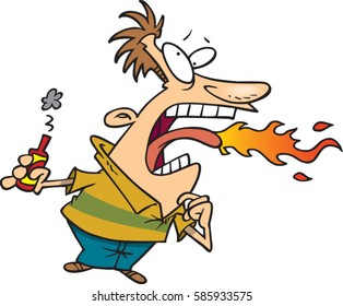 cartoon man eating hot sauce