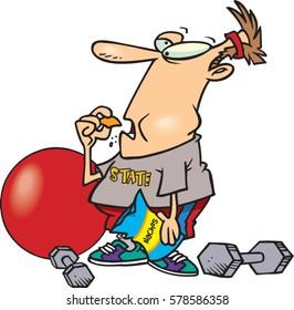 cartoon man eating junk food instead of exercising