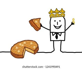 Cartoon Man eating a piece of Epiphany Cake