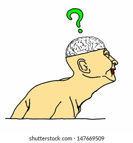 Cartoon of a man with an exposed skull showing his brain with a question mark hovering above it.