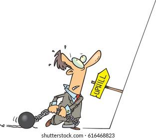 cartoon man facing an uphill battle