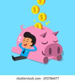 Cartoon man falling asleep with pink piggy