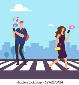 Cartoon man falls in love in woman on crosswalk vector illustration