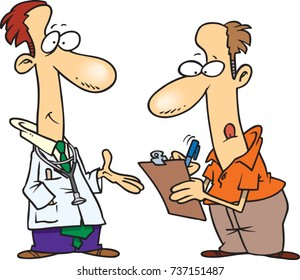 cartoon man filling out forms while standing next to his doctor