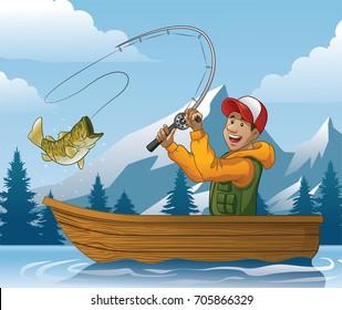 Cartoon Fishing Boat Images Stock Photos Vectors Shutterstock