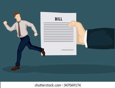 Cartoon man fleeing away from huge hand holding a paper with the word bill on it. Creative vector illustration on financial concept isolated on green background.