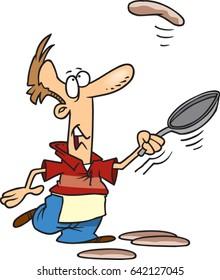cartoon man flipping pancakes and missing