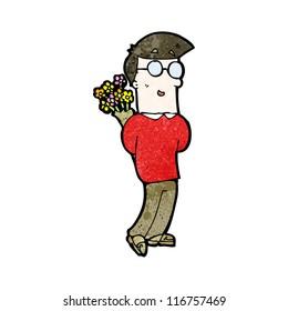cartoon man with flowers