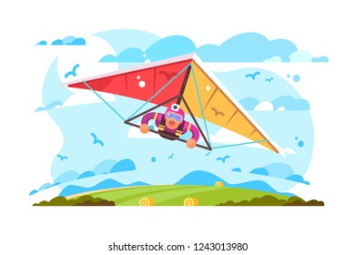 Cartoon man flying on hang glider poster. Extreme sport screaming feeling scared flat style concept vector illustration. Blue sky sun and green field on background