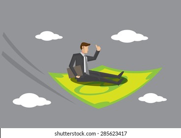 Cartoon man flying in the sky on dollar note magic carpet. Creative vector illustration for monetary and financial concept.