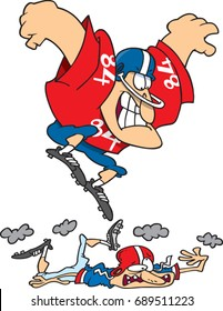 cartoon man football player stomping on another player