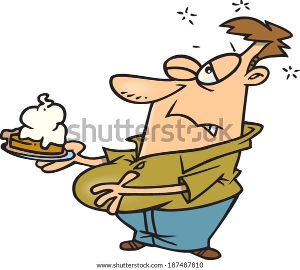 Cartoon Man Full Eating Much Pie Stock Vector (Royalty Free) 187487810