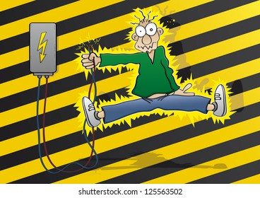Cartoon man gets an electric shock