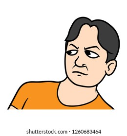 Cartoon Man Giving a Disgusted Look