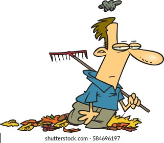 cartoon man gloomy about chores