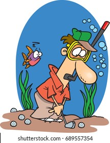 cartoon man golfing under water