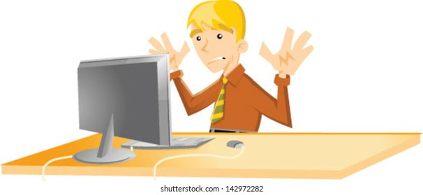 Cartoon man having computer issues - Vector clip art illustration on white background