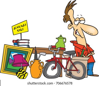 cartoon man having a garage sale with items for sale